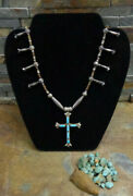 1 Horace Iule Zuni Turquoise Sterling Cross Bench Bead Necklace Squash Blossom