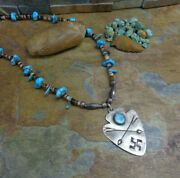 Wow Navajo Whirling Log Arrowhead Arrows Turquoise Sterling Bench Bead Necklace