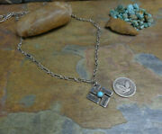 Wow Navajo Sterling Whirling Log Turquoise Pendant Necklace Native Old Pawn Era