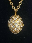 Joan Rivers Faberge Egg Necklace With Bee Inside - New - Unworn - Vintage