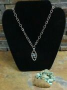 Uber Rare Navajo Sterling Whirling Log Snake Turquoise Pendant Necklace Old Pawn