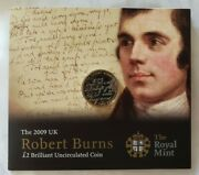 Robert Burns Royal Mint 2009 Uk £2 Uncirculated Coin New In The Package Currency