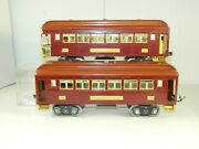 Lionel Standard Gauge 309 And 312 Maroon And Terra-cotta Passenger Cars Unusual