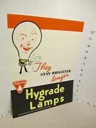 Ge General Electric 1940s Light Bulb Store Display Sign 3 Wwii Ad Character