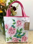 Pink Rose Bouquet Vintage Wilendur Tablecloth Tote Shopping Bag New Boutique