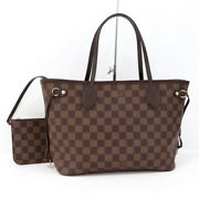 Louis Vuitton Neverful Pm Tote Bag Damier Ebene Pouch Included N41359 No.5214