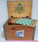 Vintage Limited Edition Rolling Rock Beer Wooden Box Crate Checker Board Game