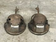 Early Vintage Pair Carbide Head Lights Lamp And Mounts Car Fire Truck Old Parts