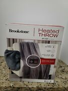 Brookstone 50 X 60 Inch Electric Heated Throw Blanket With Built-in Remote - E3
