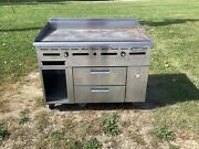 36 Griddle With 2 Refrigerated Drawers Imperial Ir-36 Nat. Gas 115v Tested
