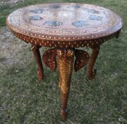 Antique Indian Teak And Bone Inlaid Occasional Table With Elephant Legs Circa 1920