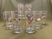 Vintage Mcm Set Of 8 Ned Smith Game Birds Ducks Cocktall Glasses With Gold Rims