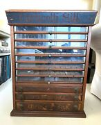 Antique Thread Cabinet Corticelli Spool Sewing
