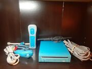 Nintendo Limited Blue Wii Console, Sensor, Bar And Cords Controllers Nunchuck