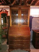 Secretary Desk Hutch Chippendale Style 5 Drawer Drop Down Glass Doors Nice