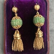 14k Gold Victorian Natural Faceted Emerald Drop Earrings