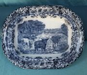 17 Oval Serving Platter Cows Flow Blue Wedgwood And Co England 19 Century Antique