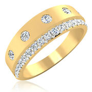 0.58 Ct Real Diamond Mens Engagement Band 14k Solid Yellow Gold Ring Size U W Y