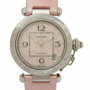 Pasha Meridian Gmt Ss Leather Belt Pink Shell Dial Christmas No.3213