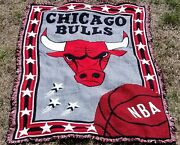 Vintage 58x40 Red Northwest Company Chicago Bulls Woven Tapestry Throw Blanket