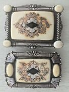 Old Unique Sterling Silver Signed Gary Cox 1 Carved Inlay Pair Belt Buckles