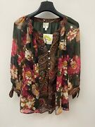 Anthropologie Fig And Flower Peasant Blouse Boho Top Tunic Floral Plus Size