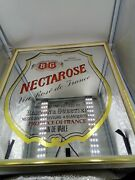 """Vintage Barton And Guestier Bandg French Wine Framed Mirror Sign """"nectarose"""