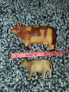 3 Vintage Celluloid Molded Hollow Toy Cow Bull Figures......c33