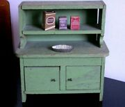 Antique Primitive Step Back Sideboard Cupboard And Accessories For Dolls