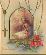 Vintage Christmas Rosary Beads Window Candle Angels Nativity Art Greeting Card