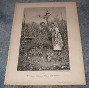 Antique Farm Woman Man Roses And Thorns Meadow Garden German Old Print