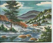 Vintage Christmas Country Log Cabin Mountains Woods Stream Snow Greeting Card