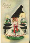 Vintage Christmas Victorian Girl Playing Piano Tree Candle Flocked Greeting Card