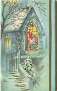 Vintage Christmas Snow Covered Church Trees Stained Glass Nativity Window Card