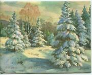 Vintage Christmas Snow Pine Evergreen Tree Forest Woods Lithograph Greeting Card