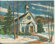 Vintage Christmas White Church Snow Mountains Country Woods Pine Greeting Card