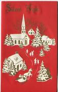 Vintage Christmas Red White Gold Village Church Horse Sleigh Embossed Art Card