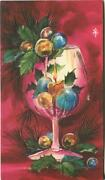Vintage Christmas Pink Wine Glass Candle Ornaments Holly Fuchsia Color Mcm Card