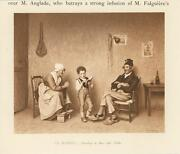 Antique Boy Child Reading Book To Old Folks Smiling Humble Home Miniature Print