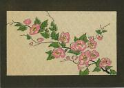 Vintage Pink Blossoms Print On Aceo Size Black Paper W/ Gold Dust Art Collage