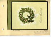 Vintage Christmas Holly Wreath White Pine Gold Bow Insurance Man Greeting Card