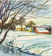 Vintage Yellow Farm House Porch Winter Snow Bare Trees Old Card Litho Print