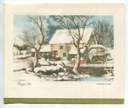 Vintage Christmas Farm House Oxen Horse Grist Mill Stream Snow Art Greeting Card
