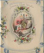 Vintage Christmas House Stairs Tree Chandelier Fireplace Wreath Card Art Print