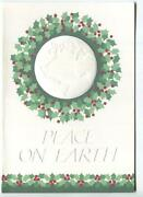 Vintage Christmas Embossed White Earth Globe Peace On Earth Wreath Greeting Card