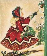 Vintage Christmas Victorian Girl Plaid Petticoat Shoes Ringing Door Bell Card