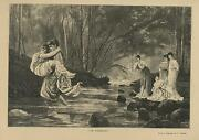 Antique Grecian Roman Man Woman Forest Clear Water Stream River Rocks Old Print