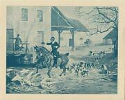 Antique Master Huntsman Fox Hunting Hound Scent Dogs White Geese Small Art Print