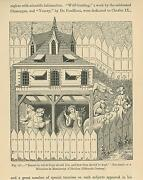 Antique Medieval Middle Ages Wheat Hay Dog Animal Kennel Fenced Yard Art Print