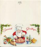 1 Vintage Santa Claus Cooking Turkey Dinner Greeting Card And 1 Chef Corn Recipe